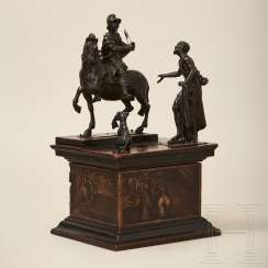 Bronze group of figures, Saint Martin on horseback with a beggar and dog, Northern Italy, 17th century