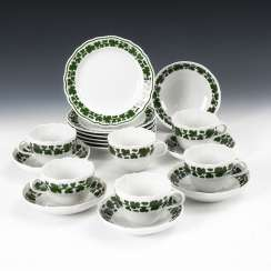 6 place settings with vine leaf decoration, MEISSEN.