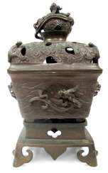 Three-piece incense burner is made of Bronze with plastic mythical creatures and bats