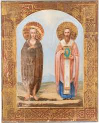 ICON OF THE HOLY MARY OF EGYPT AND SAINT MICHAEL FROM THE SINAI