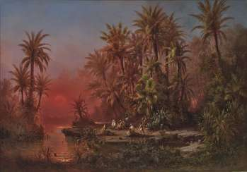 Albert Rieger - oasis at sunset