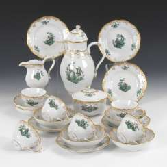 Coffee service with copper green painting, MEISSEN
