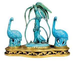 A LOUIS XV ORMOLU CENTREPIECE MOUNTED WITH CHINESE TURQUOISE-GLAZED PORCELAIN