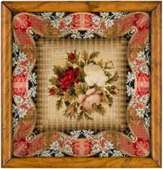 AN ENGLISH GROS AND PETIT-POINT, BEADWORK AND FELTWORK FLORAL PICTURE
