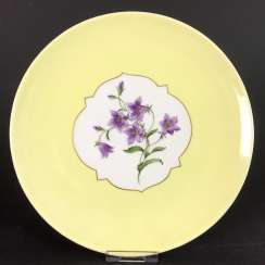 Institutional / Wall Is Adorned With Plates: Meissen Porcelain. Decorative flower 1, gold edge, very good.