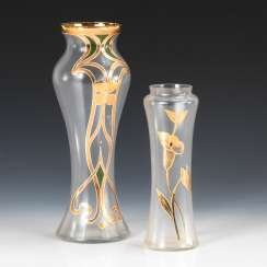 2 art Nouveau vases with gold painting.