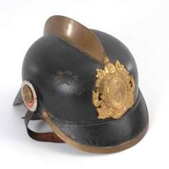 Fireman's helmet with brass comb.