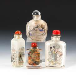 4 Snuffbottles glass with interior painting.