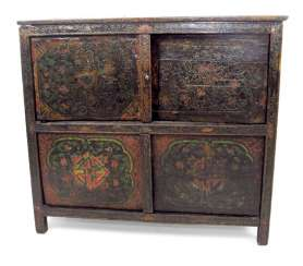 PAINTED CABINET, WOOD,