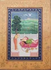 Indian book page, watercolour on paper, erotic scene,