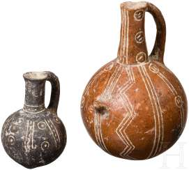 Two globular bottles with incised decoration, Cyprus, early bronze age, 2200 - 2000 BC