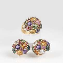 Color gems Demi-Parure with Ring and clip earrings