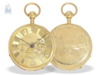 Pocket watch: unique and extremely rare Geneva pocket watch with Repetition and Music movement, Switzerland around 1820