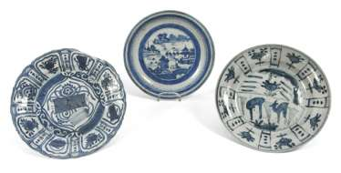 Three plates with underglaze blue decor