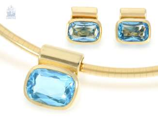 Chain/necklace/Ring/earrings: interesting and high-quality jewelry Set with large blue Topaz filled, 14K/18K Gold