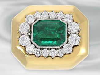 Necklaces-Clasp/pendant: exclusive nittel clasp with extremely high-quality emerald and brilliant-cut diamonds of very beautiful quality, approx. 4,65 ct, NP 18.000,-€