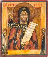 A SMALL ICON WITH SAINT MARON OF BEIT