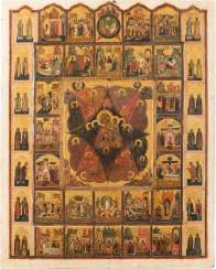 RARE AND LARGE-FORMAT ICON OF THE MOTHER OF GOD 'NON-COMBUSTIBLE BUSH' WITH THE HIGH STRENGTH OF THE ORTHODOX CHURCH YEAR, AND SELECTED SAINTS