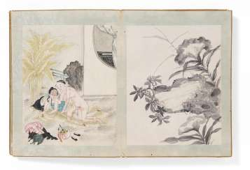 Leporello with 18 erotic and 18 Ching-a-ring-paintings