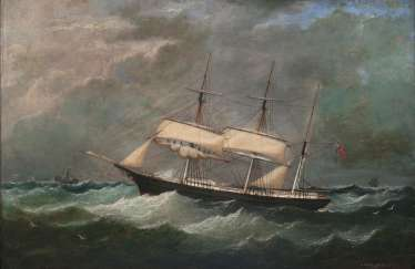 A Norwegian three-master in a storm