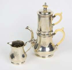 Coffee pot and creamer around 1860