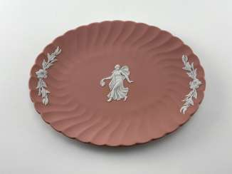 Saucer for Wedgwood jewellery Muse. Neo-classicism, England, biscuit porcelain. 1974 - 1990