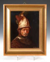 Porcelain painting: the man with the gold helmet.