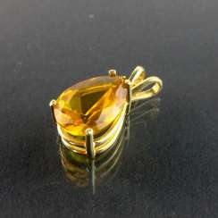 Pendant with citrine: yellow gold 585, very good.