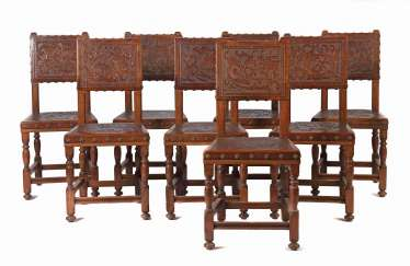 Set of 8 historicism chairs from the Danube Monarchy