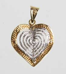 Heart Pendant - Yellow Gold/White Gold 585