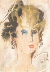 ANATOLIJ TIMOFEEWITSCH ZWEREW 1931 Moscow - 1986 Sviblovo District / Moscow Woman's head mixed media on paper. 46 cm x 32 cm. Monogrammed 'AZ' in Cyrillic