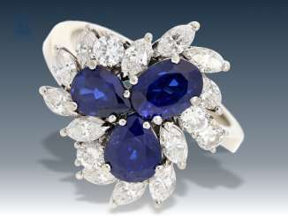 Ring: high fine sapphire/diamond Ring, exclusive gold work