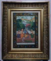 Antique paintings, India, ink on silk circa 1920