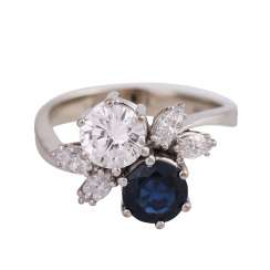 Ring with sapphire and brilliant-the approximately 0.7 ct,