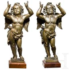 A pair of putti in bronze, probably Italy, 17th century