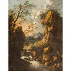 "ROSA, Salvator, ATTRIBUTED / UMKREIS (1615-1673), ""Ideal landscape with a river between rocks"","