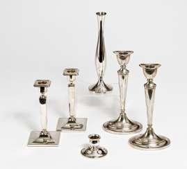 2 pairs of candlesticks, different, small vase, low candlesticks