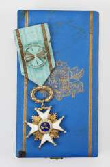 Latvia: order of the three stars 1. Model (1924-1940), officer's cross, in a case.