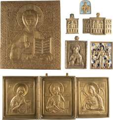 A DATED BRONZE-ICON AND A LARGE BRONZE ICON WITH CHRIST PANTOCRATOR, TWO TRIPTYCHA AND THREE BRONZE ICONS AND FRAGMENTS WITH DEESIS AND CHRIST PANTOCRATOR