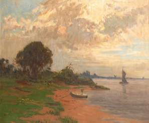 Petrich, Ernst: the beach view with ship