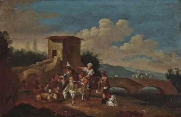 Unknown, 17./18. Century. Horsemen and peasants on a river Bank