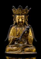 Fire-gilt Bronze of Guanyin with a Ruyi