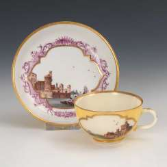 Cup and saucer with kauffahrtei-painting, Meissen.