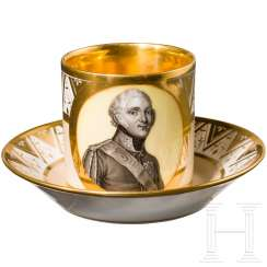 Coffee cup with hand-painted portrait of Tsar Alexander I, complete with saucer, Russian porcelain manufacturer Safronov, first third of the 19th century