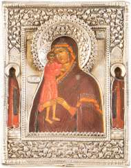 SMALL ICON OF MOTHER OF GOD, 'FINDING THE LOST' WITH VERMEIL-RIZA
