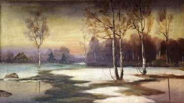 "The painting ""Winter evening"". Egorov. Russia, XIX - n. XX centuries."