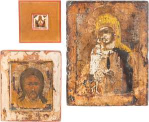 THREE ICONS: THE MOTHER OF GOD OF THE SIGN (ZNAMENIE), THE MANDYLION AND THE MOTHER OF GOD 'FINDING THE LOST'