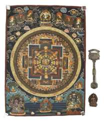 Thangka with Mandala-representation in Bronze of the Buddha Shakyamuni and a ritual object