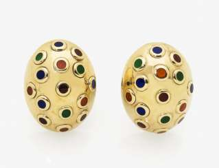 A pair of multi-colored enamel ear studs, USA, 1950s