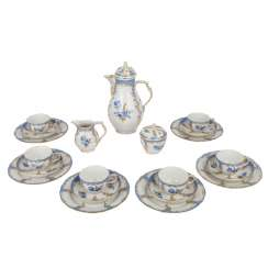 KPM coffee service for 6 persons 'Bleu mourant', 20. Century.